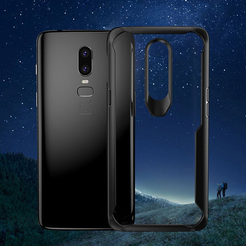Luxury Smooth & Glossy Finish Tempered Glass Back with Soft TPU Bumper Frame Case Cover for OnePlus 6 / One Plus 6