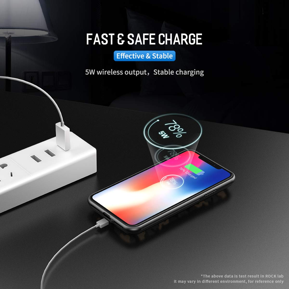 ROCK P53 5000mAh Wireless Charger Power Bank Magnetic Wireless Charging Case for iPhone X / XS - Black