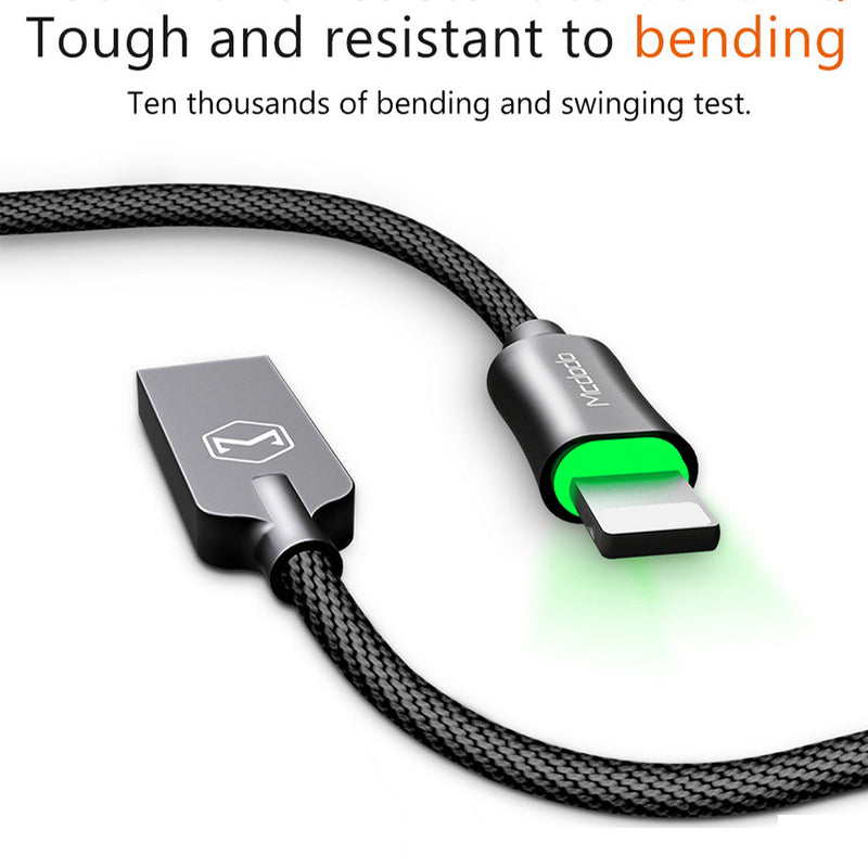McDodo Auto Disconnect Fast Charging USB Data Sync Lightning Cable with LED Light for Apple iPhone X, 8/8 Plus, 7/7 Plus, 6/6S/6 Plus, 5/5S/5C/SE - BLACK