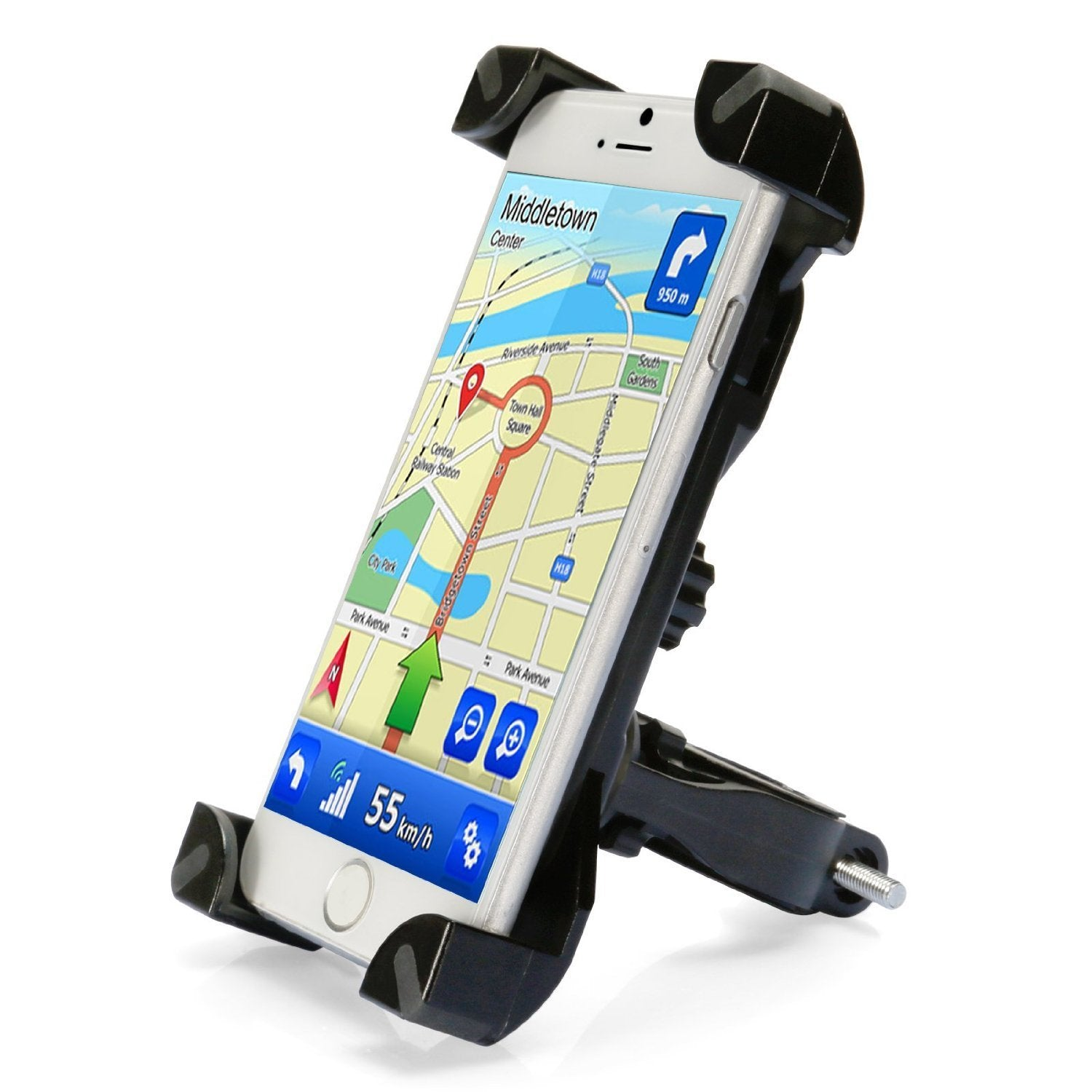 Universal CH-01 Bike Mount Bicycle Phone Holder Handlebar Phone Bracket for 4 Inch to 6 Inch Smartphones - BLACK