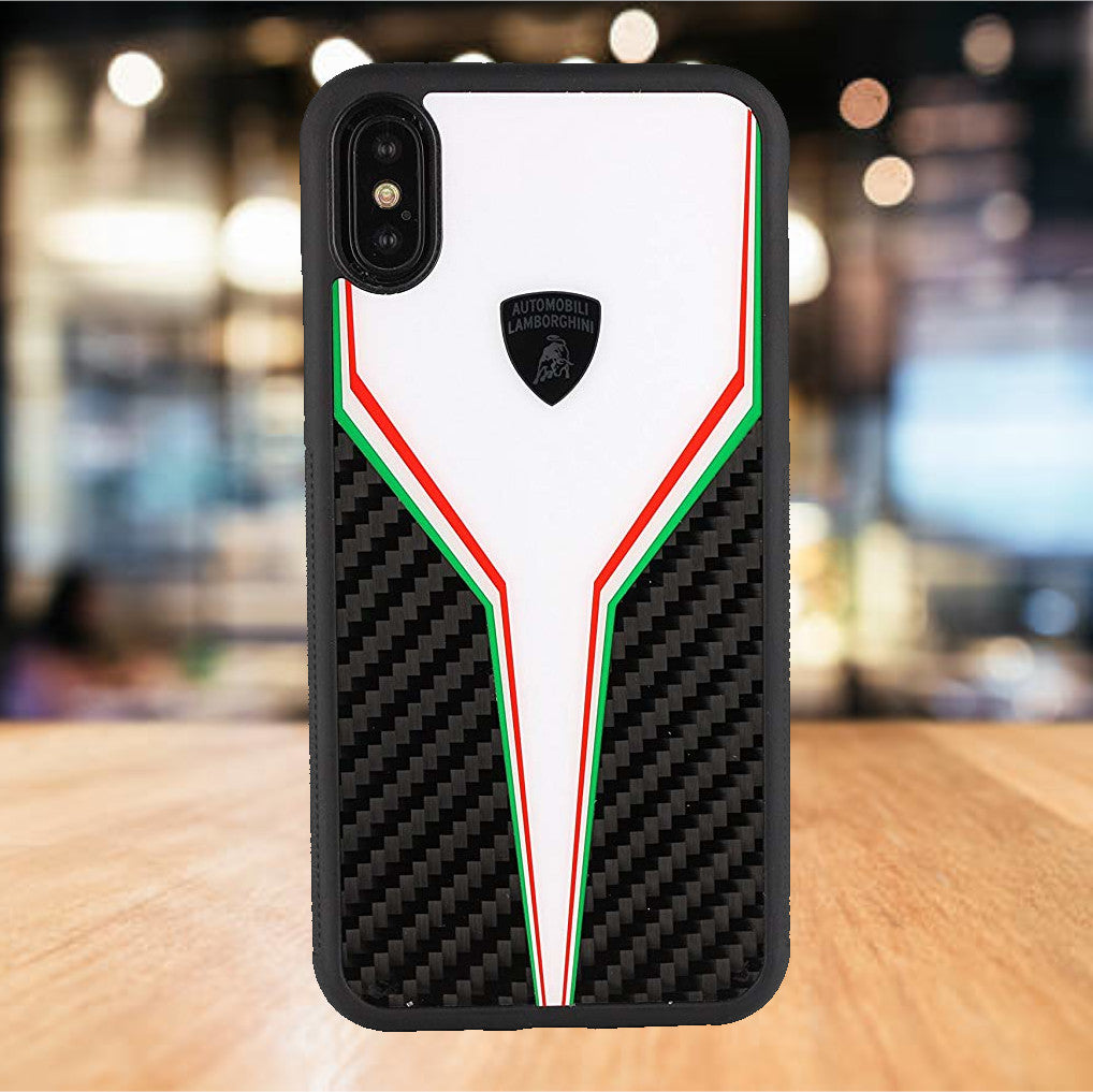 Luxury Automobili Lamborghini Hybrid Carbon Fiber SC D2 Back with Hard PC Back Case Cover for Apple iPhone X / XS 2018