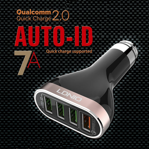 LDNIO 4 Port USB 5V / 6.6A Quick Charge 2.0 Metal Apply To AUTO-ID System Fast Car Charger for iPhone, Samsung - BLACK