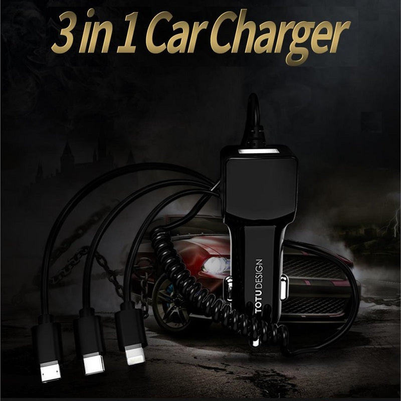 Totu 3-in-1 Long Stretchable Spring Cable Line with Single USB Port 2.1 A Fast Car Charger for iPhone, Samsung, OnePlus
