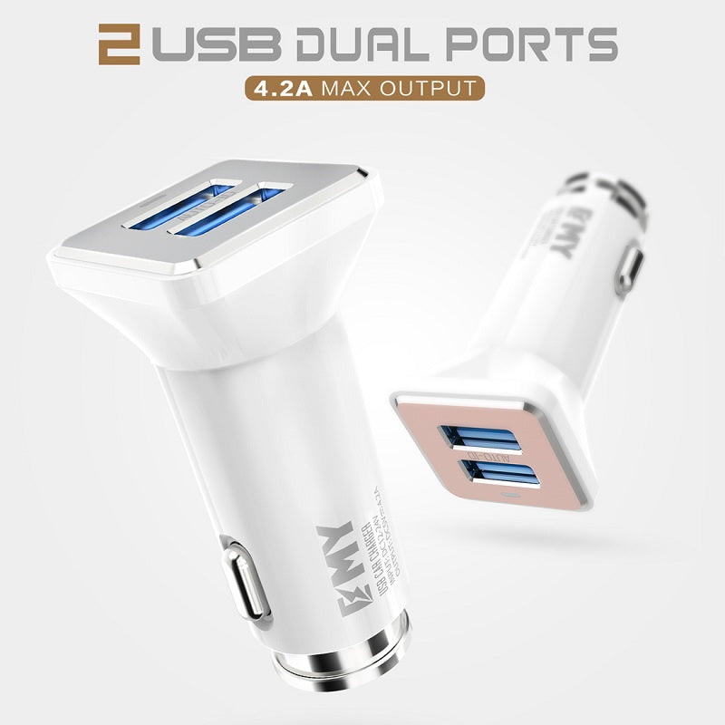 EMY Dual USB Port 4.2A Quick Charge Max Output Fast Car Charger [WHITE] for Samsung, HTC, OnePlus with Free Micro Charging Cable