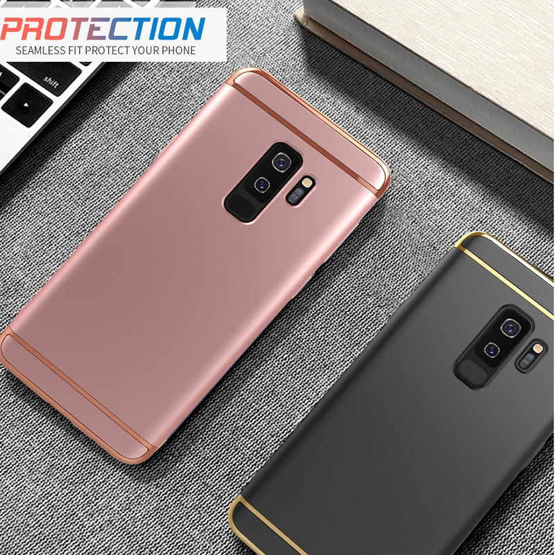 Luxury Chrome Electroplating Splicing 3 in 1 Hard Back Case for Samsung Galaxy S9 Plus