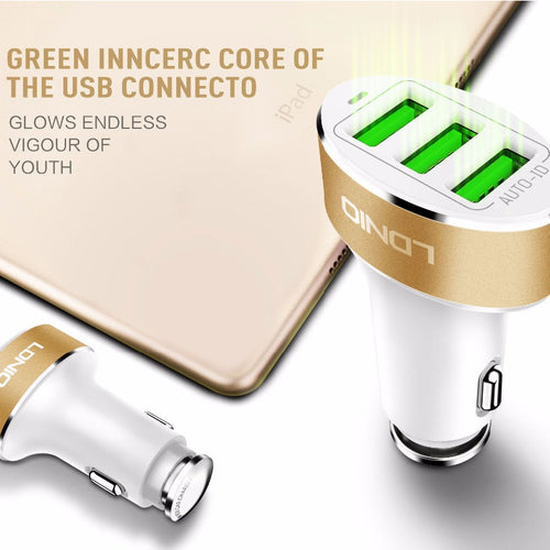 LDNIO Three USB Port 5.1 A Quick Charge Auto-ID Fast Car Charger for iPhone, Samsung - WHITE