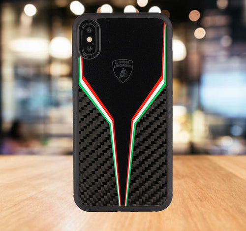 Luxury Automobili Lamborghini Hybrid Carbon Fiber Back with Hard PC Back Case Cover for Apple iPhone X / XS 2018