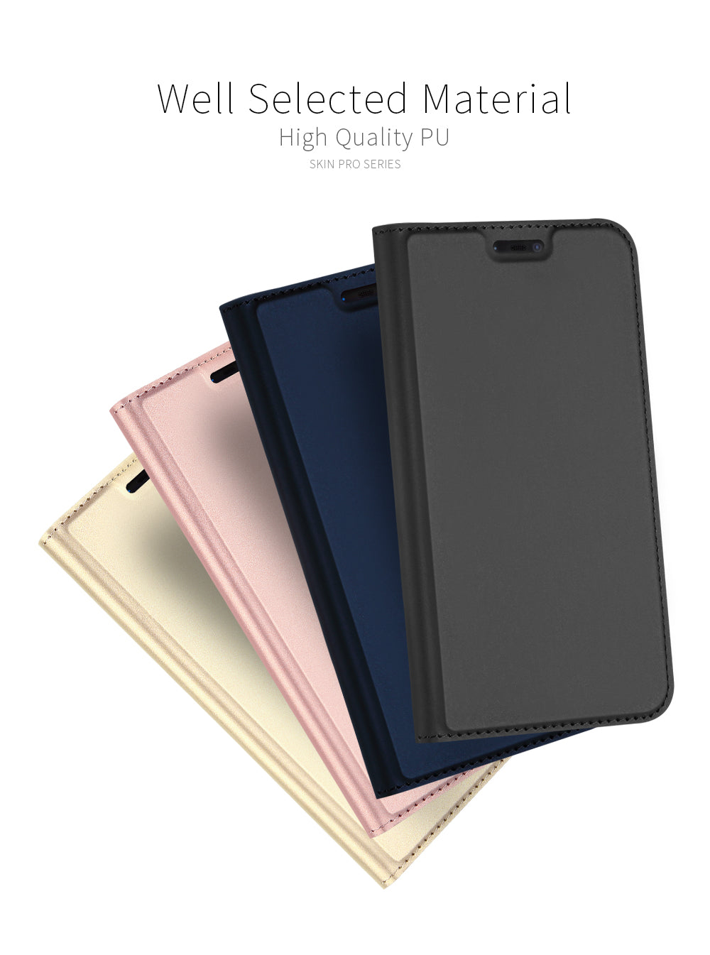 Luxury Smooth Leather Touch Wallet Flip Case Cover for OnePlus 6 / One Plus 6