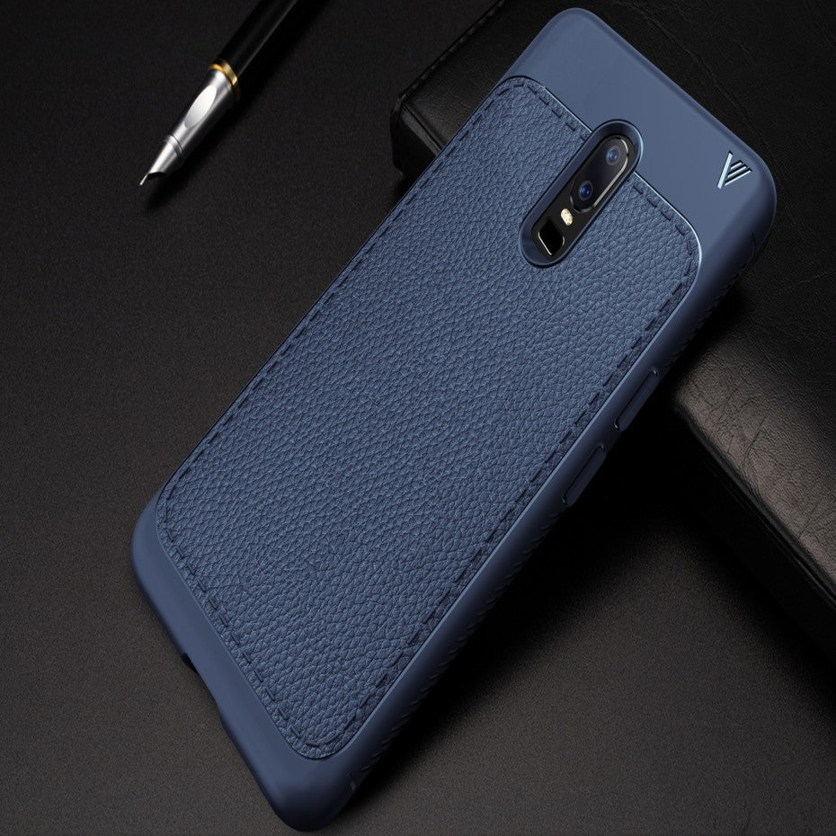 Premium Fine Grain Leather Touch Back Case Cover for OnePlus 6 / One Plus 6