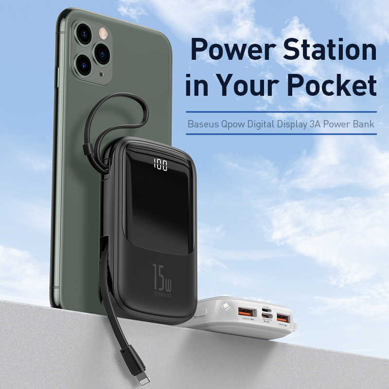 Baseus QPow 15W 3A QC 3.0 PD USB C 10000mAh Mini Power Bank with Big Digital Display & Inbuilt Cable