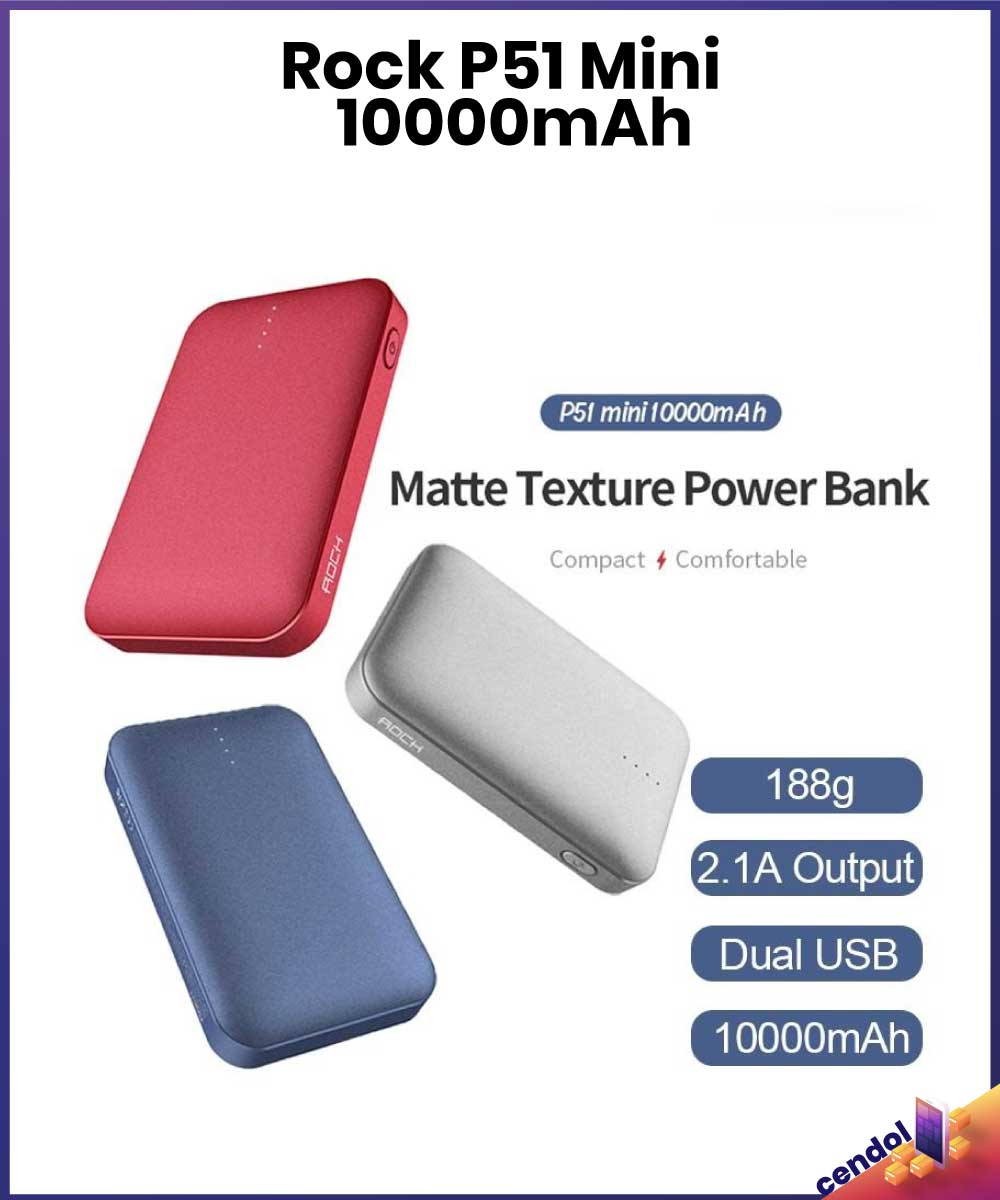 ROCK P51 Ultra Matte Finish 10000mah Quick Fast Charging Mini External Power Bank