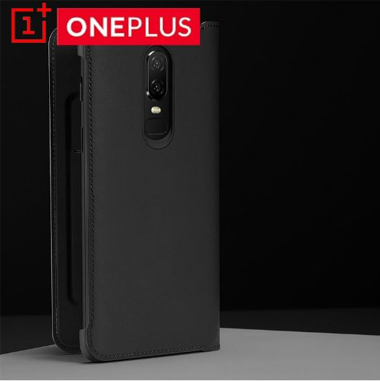 Elegant Smart Auto Sleep Wake Up Sensor Flip Case Cover for OnePlus 6/ One Plus 6 - BLACK