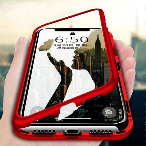 Luxury Magnetic Bond 360 Protection Clear Tempered Glass Back Case Cover for Apple iPhone 7