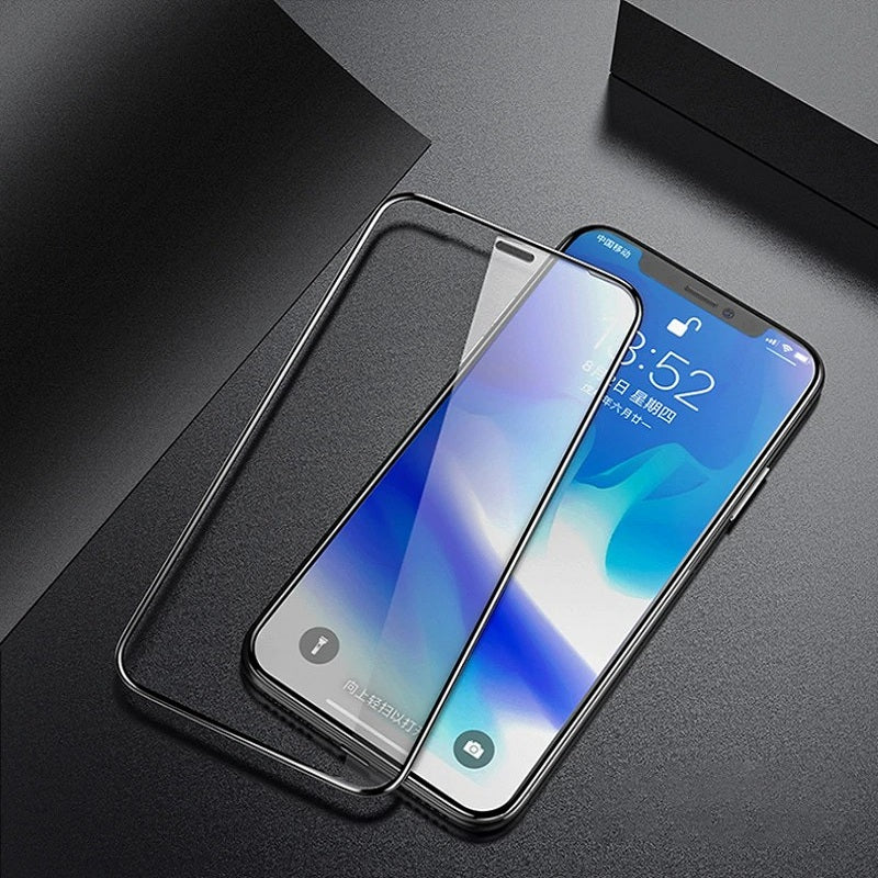 Henks Real 5D Full Glue Full Cover Anti Shatter Tempered Glass Screen Protector for Apple iPhone XS Max - BLACK