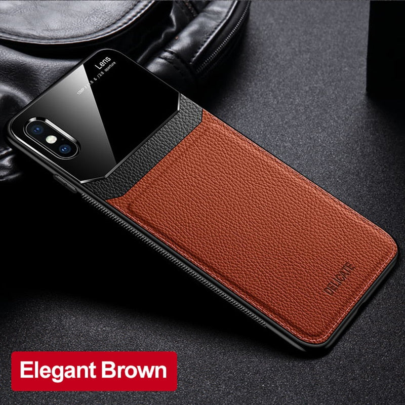 Luxury Slim Leather Lens Case with Card Slot for Apple iPhone XR
