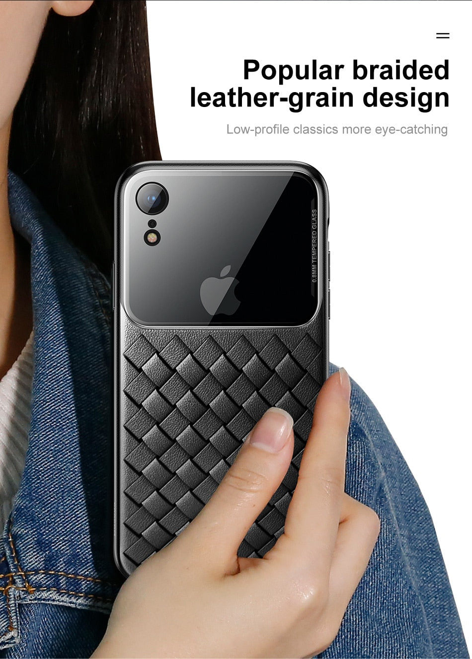 Luxury Smooth & Glossy Camera Lens Plus Weave Design Soft TPU Back Case Cover of Apple iPhone XS Max