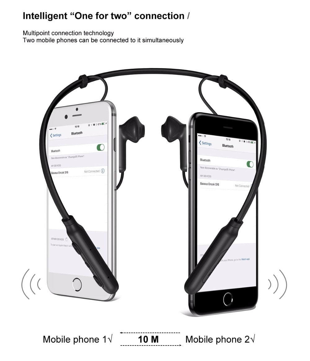 Encok S16 Bluetooth Wireless Magnetic Sports Earphone Ultra Light Weight Neck Hung with Mic