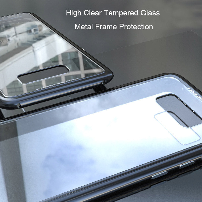 Premium 360 Protection Magnetic Transparent Back Case with Metal Frame Bumper Back Cover for Samsung Galaxy S8 Plus