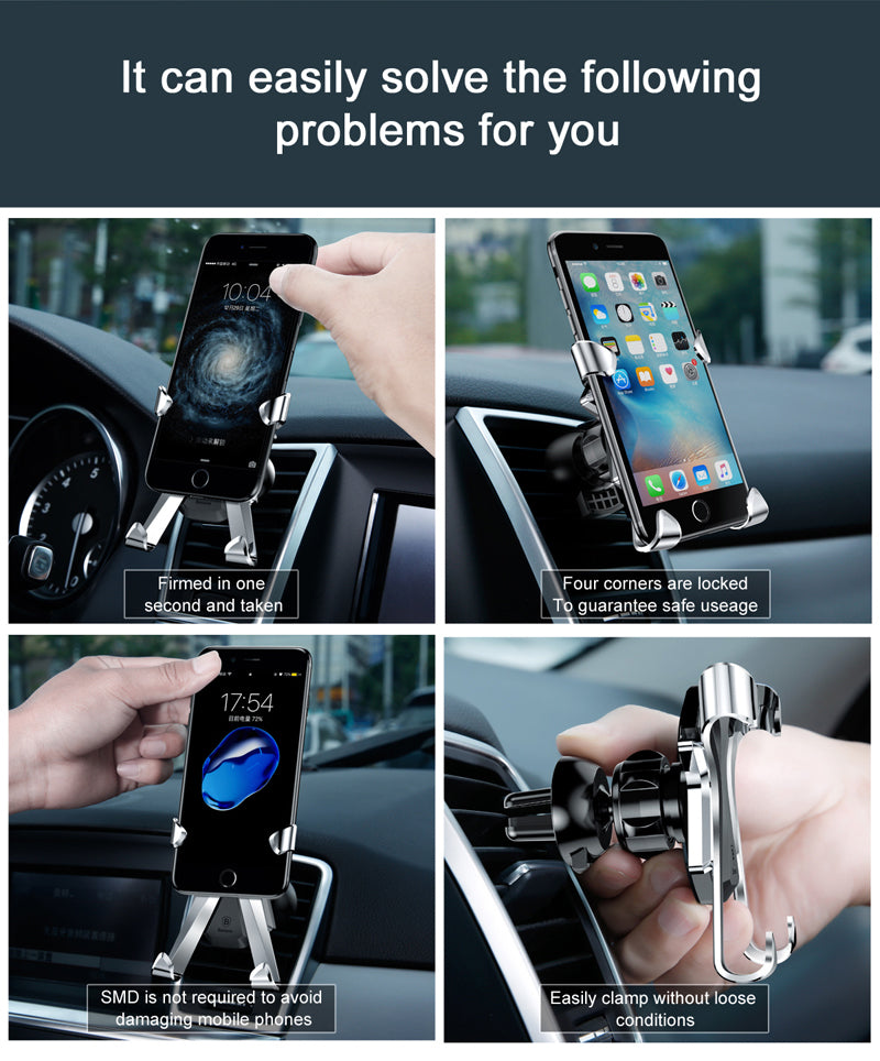 Baseus X Car Holder Universal Air Vent Mount Car Phone Holder For iPhone X 8 7 Samsung S8 [Cellphone Mobile Phone Holder Stand]