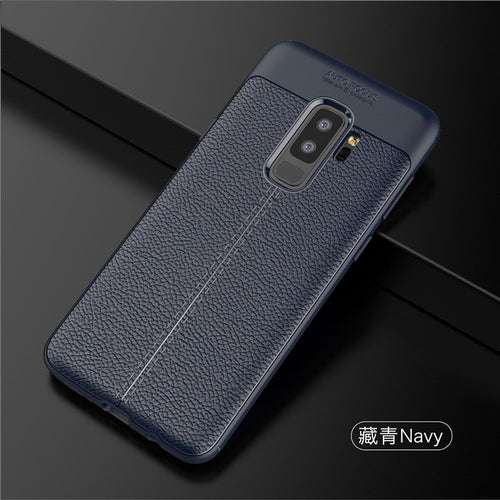 Luxury Leather Design TPU Anti-Shock Full Protective Back Case Cover For Samsung Galaxy S9 Plus