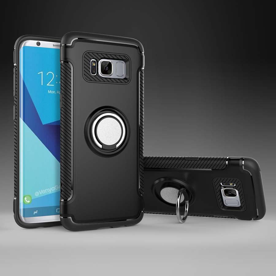 Luxury Carbon Fiber Design Shockproof Hybrid Ring Holder Case for Samsung Galaxy S8