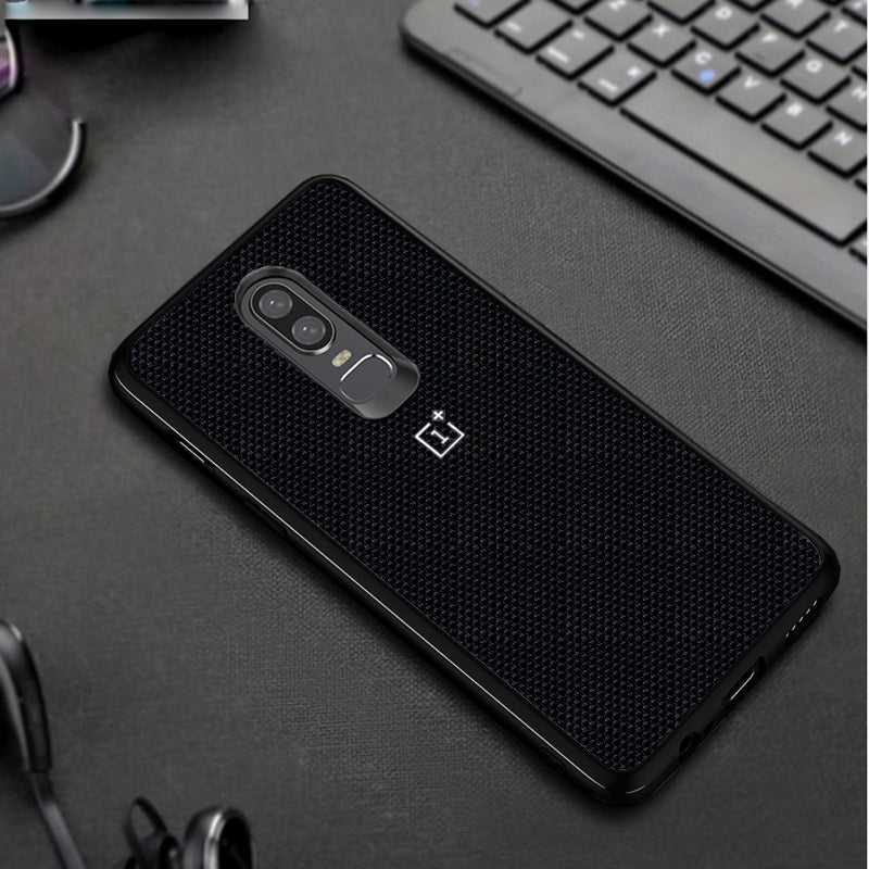 new arrival c97f4 6f64f Luxury Nylon Knitted Finish Back with Soft TPU Frame Bumper Case Back Cover  for OnePlus 6 / One Plus 6 / 1+6
