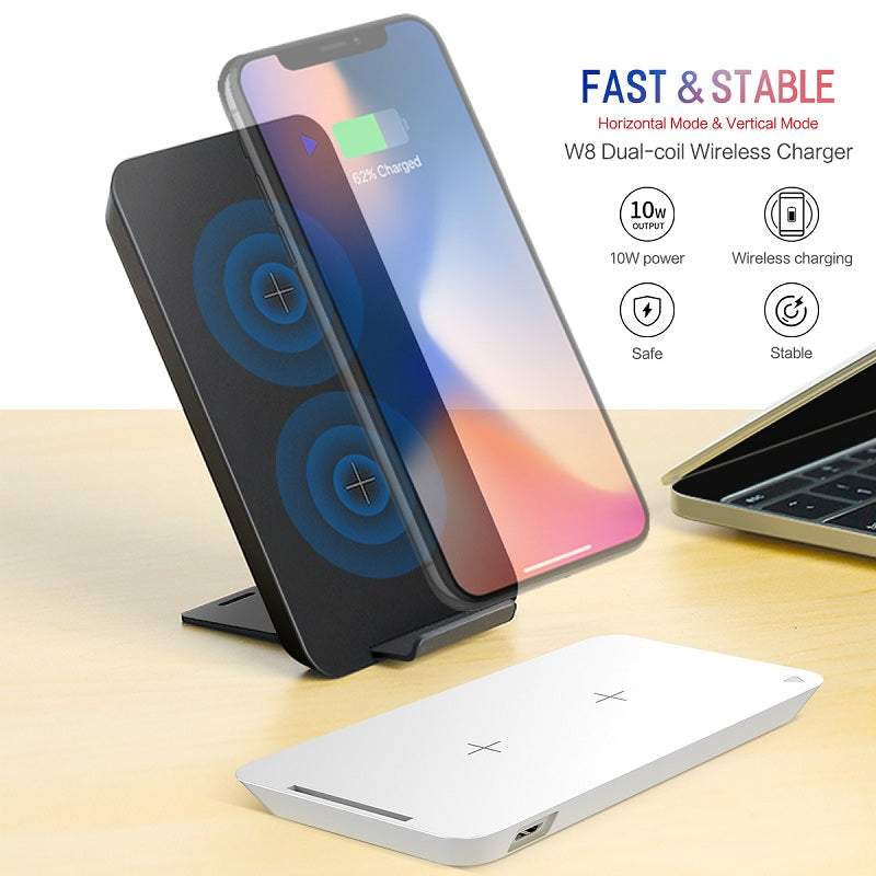 Luxury Dual Coil [10 Watt] Fast Wireless Charging with Stand Function for Horizontal & Vertical Charging iPhone X, 8/8 Plus, Samsung S8/8 Plus, Note 8