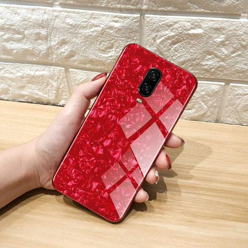 Premium Smooth & Shiny Marble Pattern Hard Glass Back Case Cover for OnePlus 6T