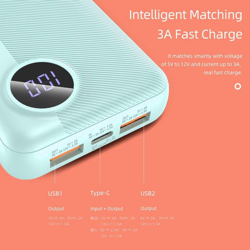 Rock 18W QC 3.0 Type C PD Ultra Fast Power bank with LED Display for Mobile Phones, Laptop P75 Mini Edition