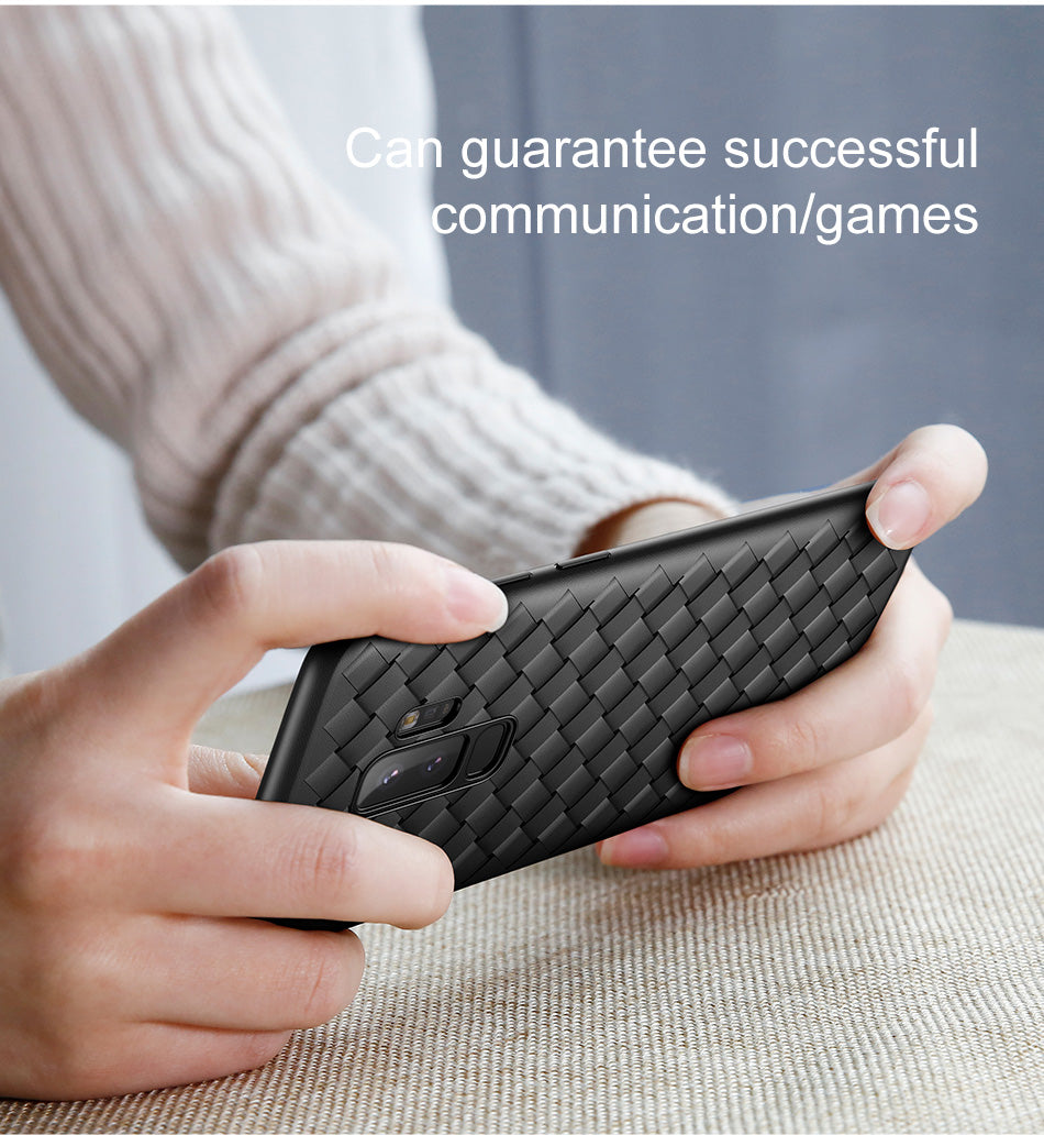 Premium Hand Weaving Leather Texture Luxury Soft Back Case for Samsung Galaxy S9 Plus