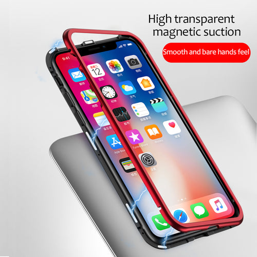 Luxury Magnetic Bond 360 Protection Clear Tempered Glass Back Case Cover for Apple iPhone 8