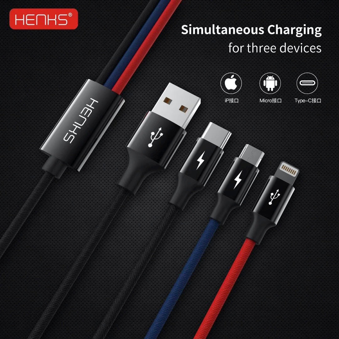 HENKS® Three in One 3in1 Multifunction 3.5Amps Fast Charging Data Sync Cable - 1.5mtr