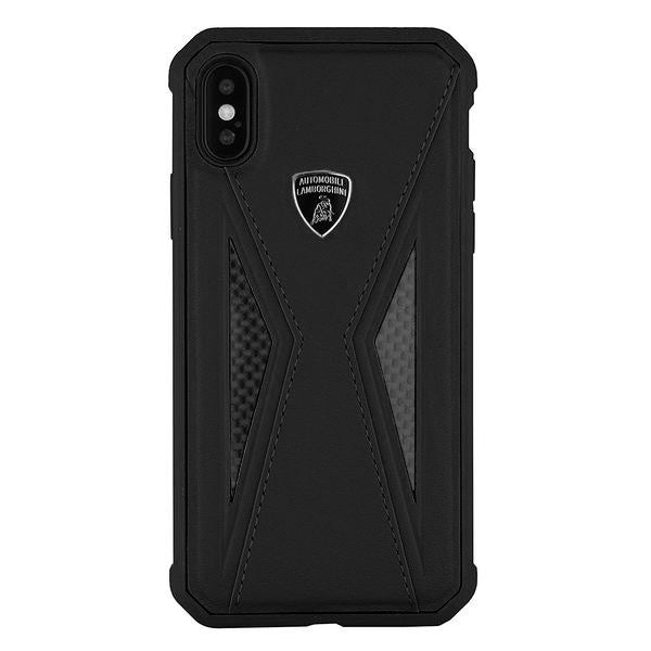 Luxury Genuine Leather & Carbon Fiber Hybrid Official Lamborghini Aventador D8 Series Anti Knock Back Case Cover for Apple iPhone X / XS 2018