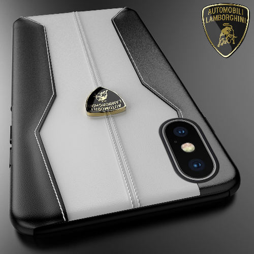 Luxury Genuine Leather Crafted Official Lamborghini Huracan D1 Series Anti Knock Back Case Cover for Apple iPhone X / XS 2018