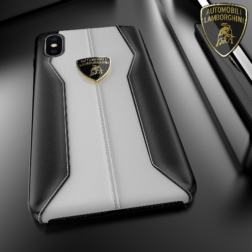 Luxury Genuine Leather Crafted Official Lamborghini Huracan D1 Series Anti Knock Back Case Cover for Apple iPhone XS Max