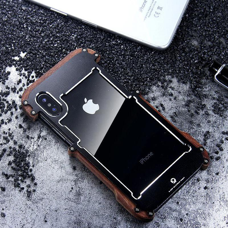 Apple iPhone X/XS Luxury Hard Metal Aluminum Wood Protective Bumper Phone Case
