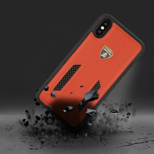Luxury Genuine Leather & Carbon Fiber Hybrid Official Lamborghini Huracan D6 Series Shockproof Back Case Cover for Apple iPhone X / XS 2018
