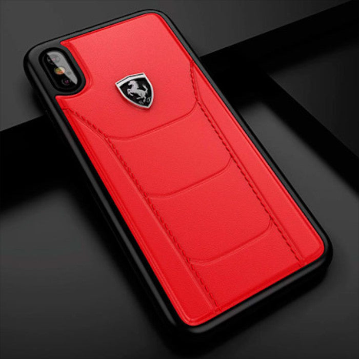 buy popular a76f7 8f98e Luxury Scuderia Ferrari Genuine Leather Hand Crafted Hard Back Case Cover  for Apple iPhone X / XS 2018