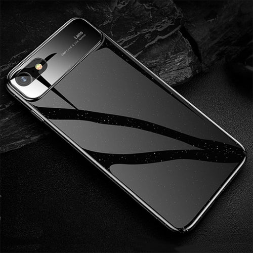 Luxury Glossy Mirror Tempered Glass Camera Protection Hard Back Case Cover for Apple iPhone 7