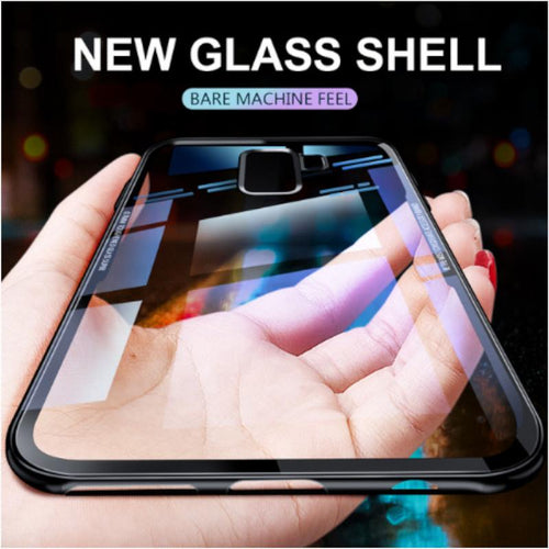 Luxury 9H Tempered Glass Protective Back Case with Soft TPU Bumper Cover for Samsung Galaxy S9 Plus/ S 9+ - BLACK