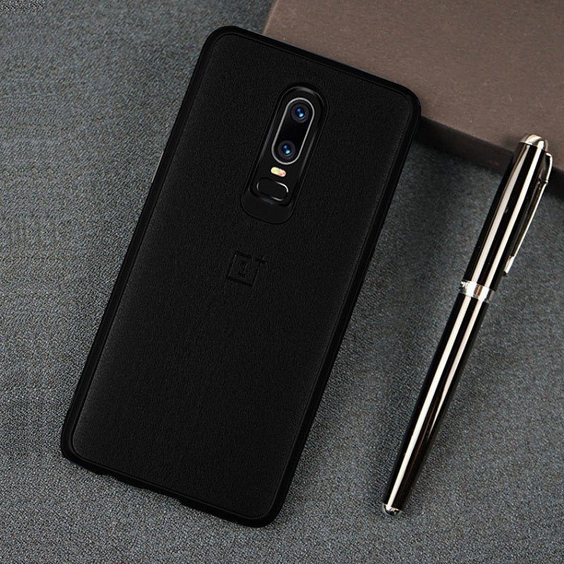 more photos b0879 cc653 Premium Leather Soft Touch Back Case Cover for OnePlus 6 / One Plus 6/ 1+6