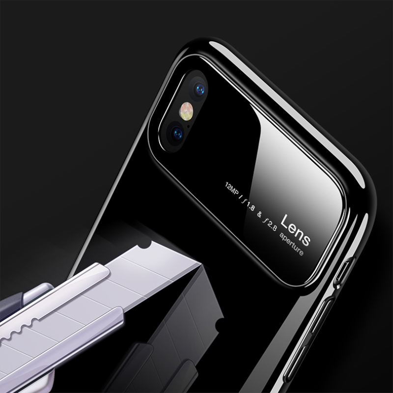 Luxury Glossy Mirror Tempered Glass Camera Protection Hard Back Case Cover for Apple iPhone X / XS 2018