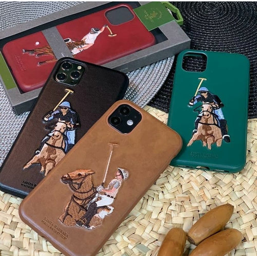 Santa Barbara Polo & Racquet Club Jockey Series Genuine Leather Case Cover for Apple iPhone 11 Pro Max 6.5""