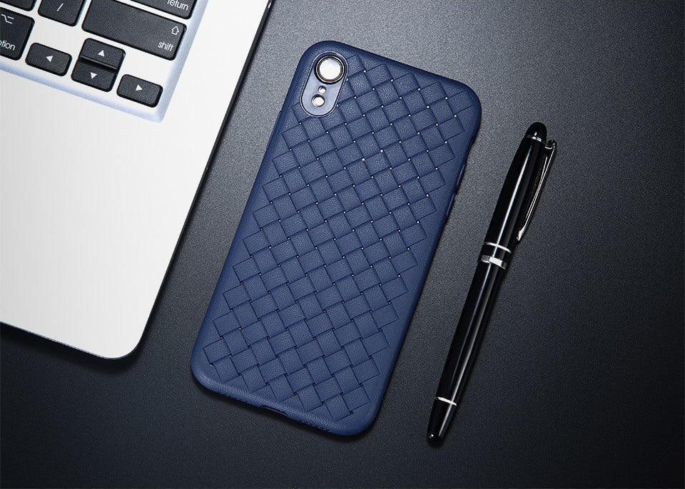 Premium Grip Hand Weaving Leather Texture Luxury Soft Back Case for Apple iPhone XR