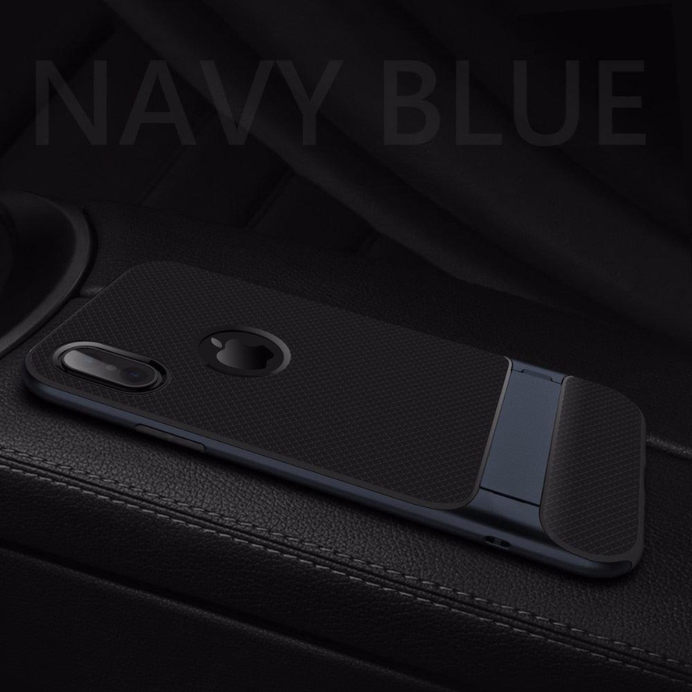 Luxury Shockproof Matte Back Case with Kickstand TPU + PC Holder Back Cover for Apple iPhone X / XS 2018