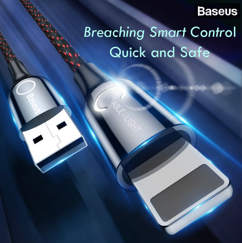 Baseus LED Lighting Auto Disconnect 2.4A Fast Charging Lightning Cable Cable Data Cord for iPhone XS Max XR X 8 7 6 6S Plus SE - BLACK