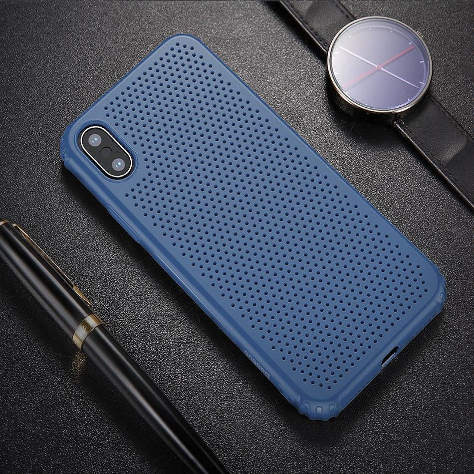 Luxury Heat Dissipation Ultra Slim Hard Shell Back Case Cover for Apple iPhone X / XS 2018 - Blue