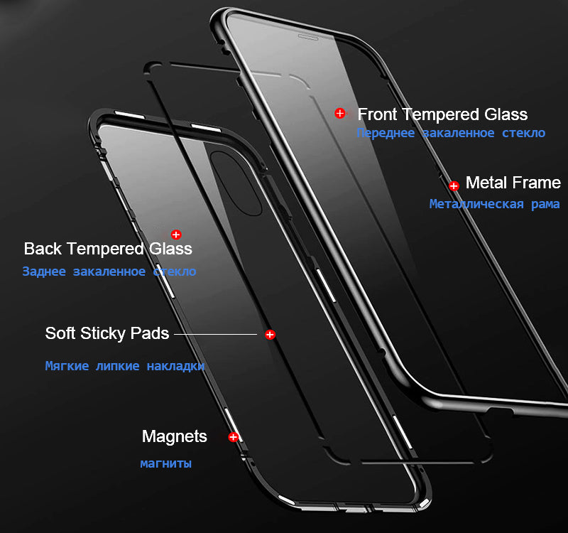 Luxury 360 Protection Magnetic Adsorption [Front + Back Glass] Back Case Cover for Apple iPhone X / XS