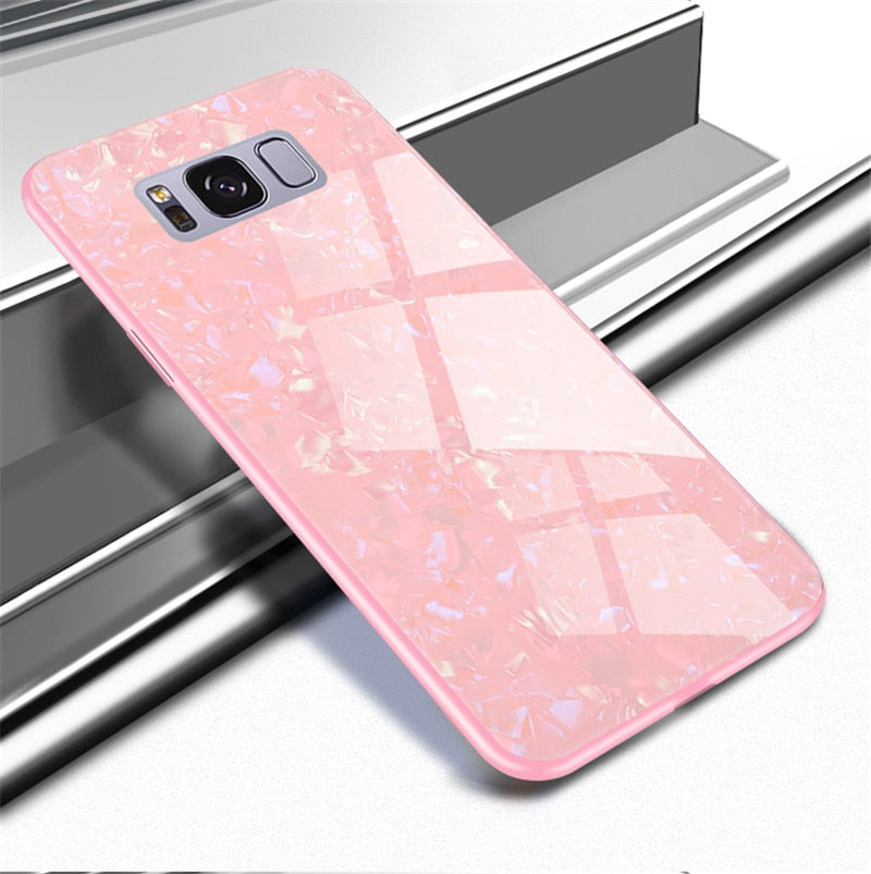 Luxury Marble Finish Bling Shell Tempered Glass Hard Back Case Cover for Samsung Galaxy S8