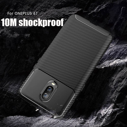 Luxury Shockproof Hybrid Armor Soft Silicone Carbon Fiber Back Case Cover for OnePlus 6T